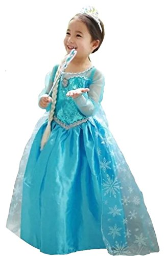 Prinzessin Elsa Anna Kostüm Kinder Glanz Kleid Mädchen Weihnachten Verkleidung Karneval Party Halloween Fest Kostüm (3 - 4 Jahre)