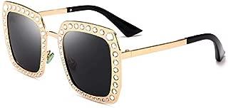Sunglasses Fashion Accessories Diamond Polarized Sunglasses Female Outdoor Travel Beach UV Protection (Color : Black)