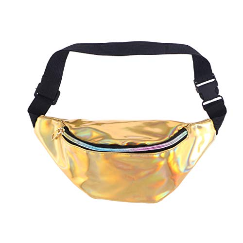 VALICLUD Riñonera holográfica Riñonera de PU de color metálico Riñonera brillante Bolso bandolera para Festival Rave para hombres mujeres