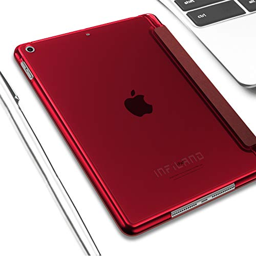 INFILAND Hülle für iPad 10.2 Inch, iPad 7th Generation 2019/ 8th Generation 2020, Superleicht Transluzent Smart Schutzhülle Case mit Pencil Halter, Auto Schlaf/Wach,Rotwein