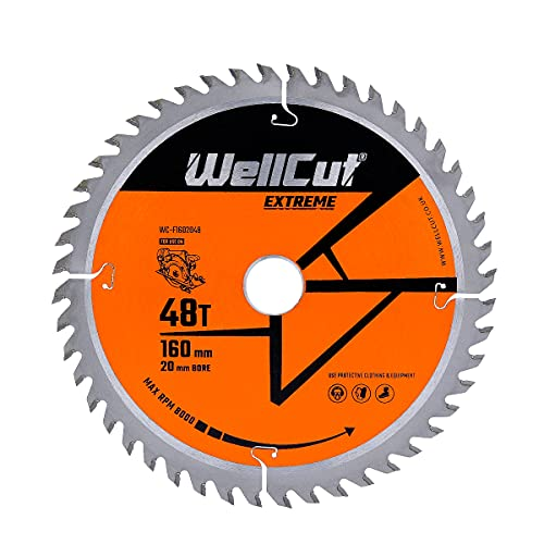 WellCut TCT Circular Angle Grinder Wood Cutting Disc Saw Blade, Plunge Saw Blade 160mm x 20mm x 48T Festool TS55 Makita Bosch Cord/Cordless