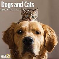 2021犬と猫の壁カレンダー 12 x 12インチ 犬の子犬猫の子猫