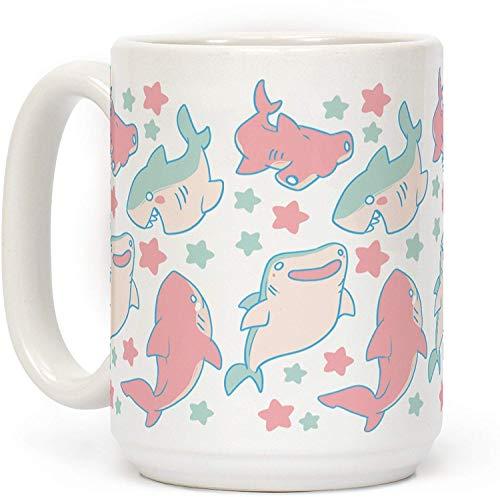 Taza de café de cerámica con diseño de tiburón, 325 ml, color blanco