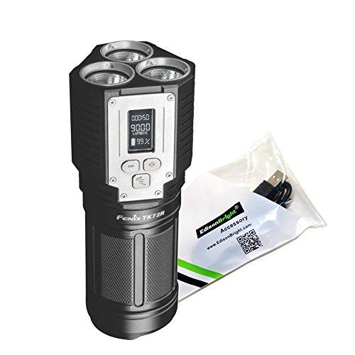 FENIX TK72R 9000 Lúmenes Pantalla digital recargable LED Flashlight/Búsqueda/Powerbank con EdisonBright Cable de carga USB 🔥
