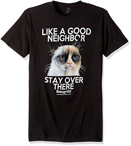 T-Line Men's Grumpy Cat Good Neighbor Graphic T-Shirt, Black, Large