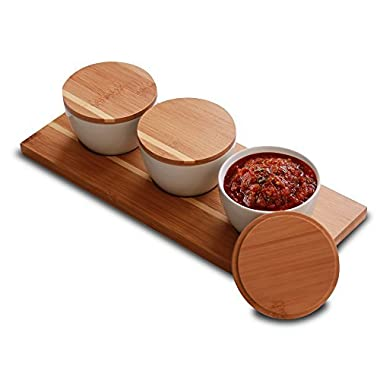 Everything Bamboo Salt & Salsa Caddy Condiment Organizer & Server with 3 Ceramic Containers for Serving and Storage