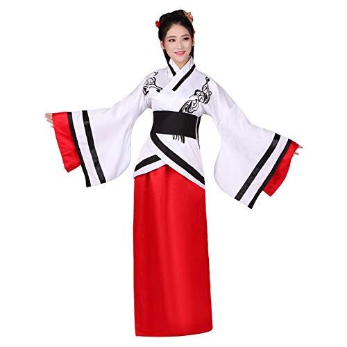 Xingsiyue Donne Cinese Hanfu Vestito, Antico Tradizionale Costume Tang Suit Vestiti di Prestazione (Bianco Rosso,46)
