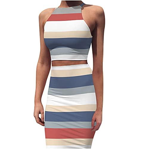Masrin Damen 2-teiliges Kleid Lässiges einfarbiges Korsett + Enger Rock Ärmelloses Sommer-Etuikleid mit O-Ausschnitt Kurzes figurbetontes Kleid Party Kleid Club-Kleid Cocktailkleid(S,Blau)