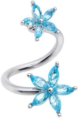 Body Candy Womens 14G 316L Steel Blue Accent Star Flower Spiral Twister Belly Button Ring Navel product image