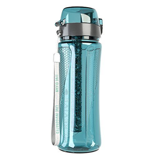 pH REVIVE - Trinkflasche mit Filter für natürlich gereinigtes, basisches, ionisiertes Wasser - reduziert Kalk & erhöht pH-Wert - mit Transporthülle - BPA-freier Kunststoff - Aquablau - 750 ml