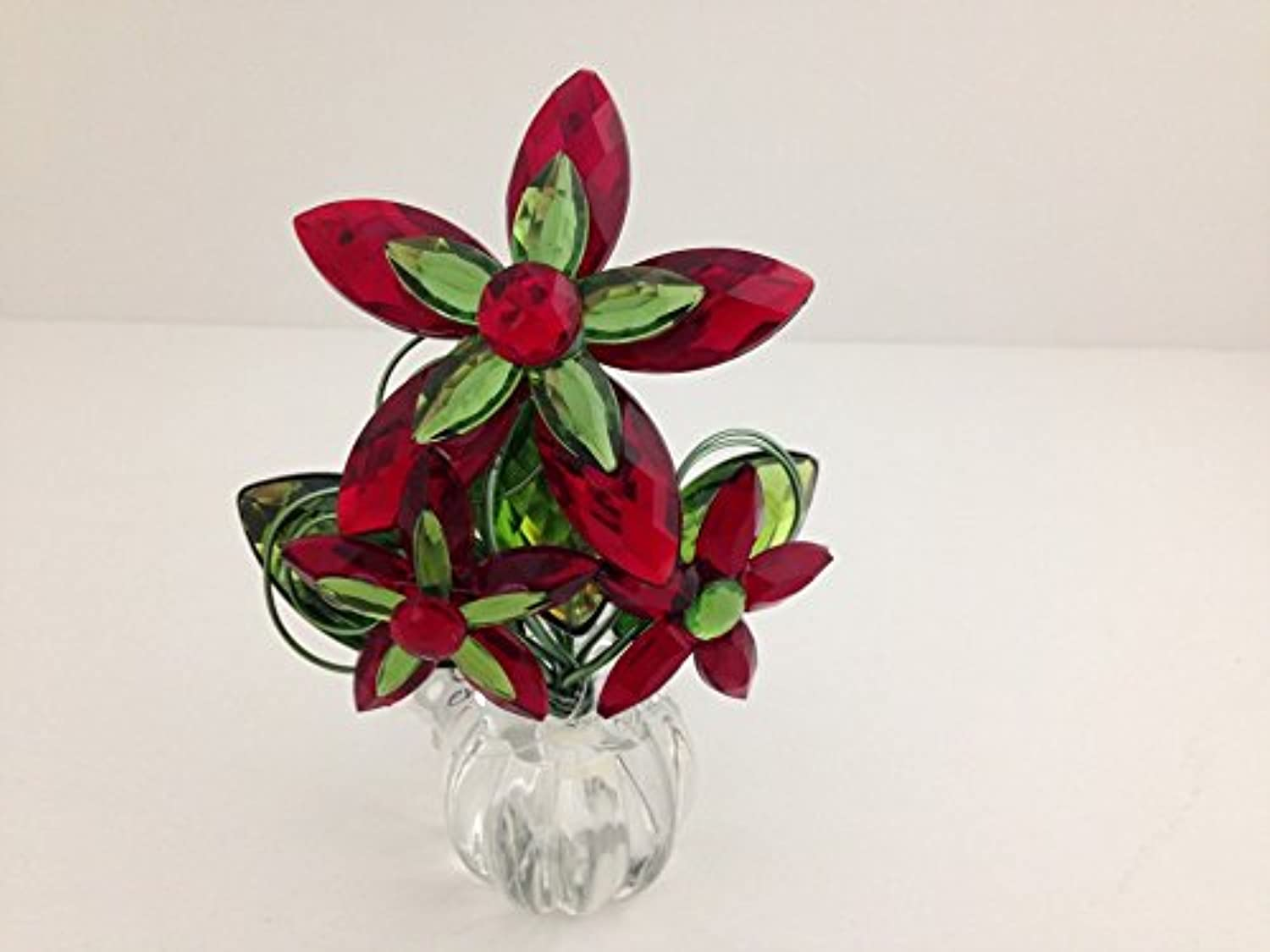 Ganz Crystal Expressions Red & Green Flower Posy Pot - 4  x 3