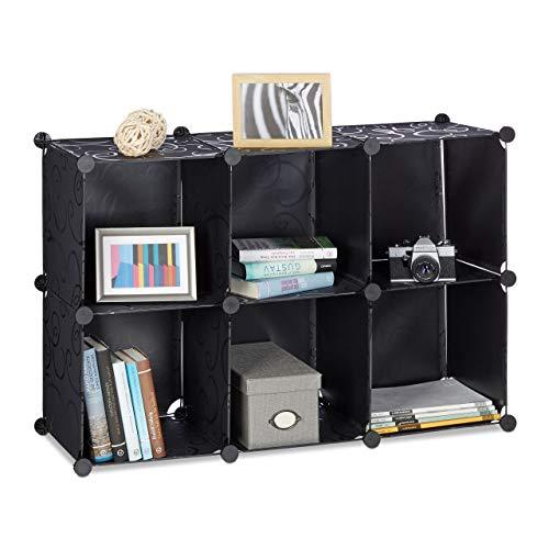 Relaxdays Regalsystem mit 6 Fächern, Standregal offen, Steckregal aus Kunststoff, HxBxT: ca. 65 x 96 x 32 cm, schwarz