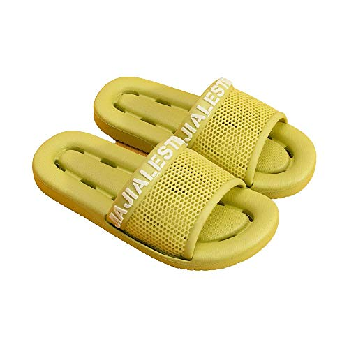 XZDNYDHGX Zapatos De Piscina Casa Hogar Slide,Zapatillas de casa para Mujer, Hombre, Interior, Confort, Fondo Suave, Antideslizante, baño, Suela Gruesa, toboganes Planos, Amarillo-Verde, EU 37-38