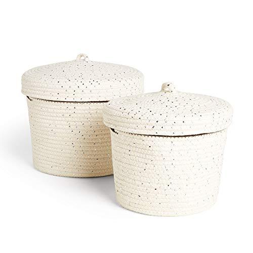Beautify Juego de 2 cestas de almacenamiento de cuerda con tapas, color plateado metálico y blanco, par de cestas redondas para la colada
