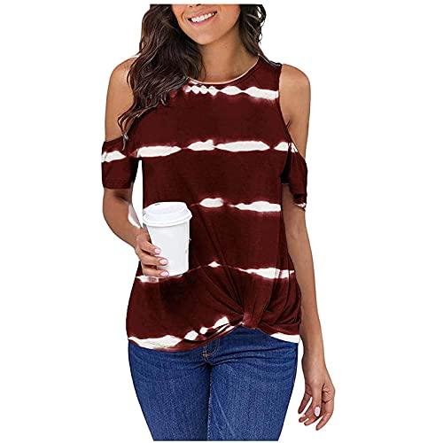 Camiseta de verano sexy para mujer, con hombros fríos, blusa de manga corta, túnica, cómoda, suave y suelta.