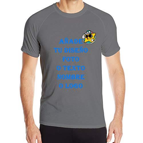 Personalizada Camiseta Deportiva Hombre de Manga Corta Transpirable y Secado Rápido Cuello Redondo Tops Casuales (Gris Oscuro,S)