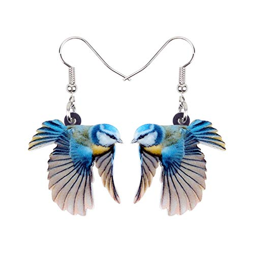Ohrhänger, Acrylic Flying Voilet Sabrewing Hummingbird Bird Earrings Big Long Dangle Drop Fashion Animal Jewelry For Women Girls Kid Blue Tit Bird-2