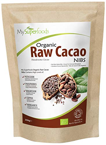 Organic Cacao Nibs 200g, Natural Wholefood Source of Potassium, by MySuperFoods