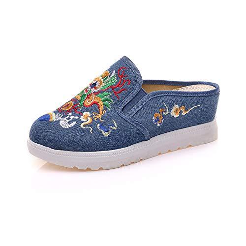 Geborduurde drakenpantoffels witte onderkant verhoogde binnenhelling met hoge hakken en geborduurde pantoffels van retrostof sandalen voor dames,Blue,41