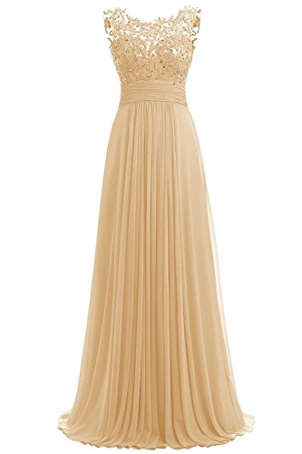 Carnivalprom Damen Chiffon Abendkleider Lange Elegant Hochzeitskleid Spitze Cocktailkleider(Gold,40)