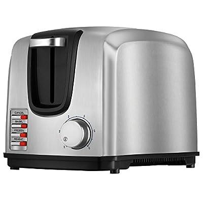 BLACK+DECKER 2-Slice Toaster, Modern, Stainless Steel, T2707S,Silver