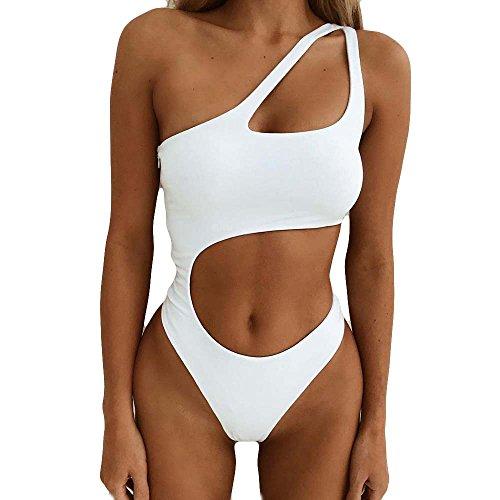 EUCoo Traje de baño casual sexy de hombro oblicuo sólido bikini de mujer hueco de una pieza de cintura alta traje de baño