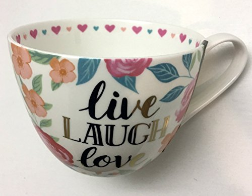 Portobello by Inspire 'Live, Laugh, Love' Oversize Bone China Coffee Tea Cup Mug with Colorful Flowers