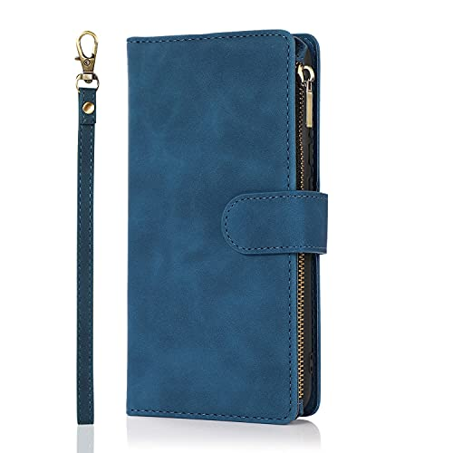 YANCAI Funda Protectora Caja de la Billetera para Xiaomi Redmi 9C, PU Soft PU con Cremallera de Cuero PU Billetera de Folio con Tarjeta de muñeca Caja Protectora de Ranura para Xiaomi Redmi 9c