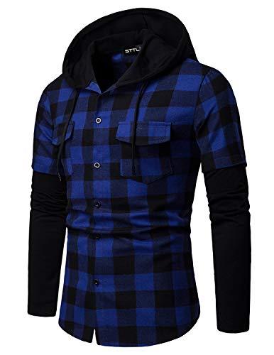STTLZMC Hombre Sudadera con Capucha Camisa de Cuadros Cosiendo Manga Larga Botones Cordón Camisetas,Azul,2XL