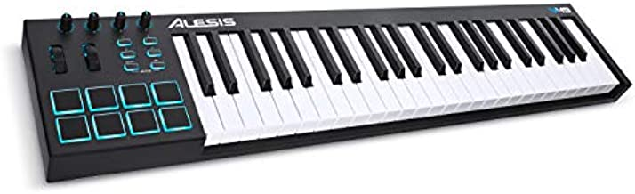 Alesis, 49-Key 49-Key USB MIDI Keyboard Controller with 8 Backlit Pads, 4 Assignable Knobs and Buttons, Plus a Professional Software Suite with ProTools   First Included, 49 Keys (V49)