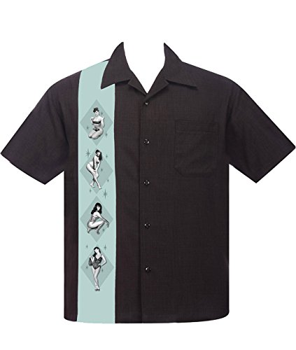 Steady Clothing Herren Vintage Bowling Hemd - Bettie Page Pin-Up Bowling Shirt XL
