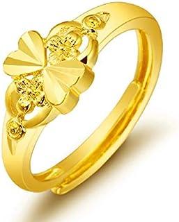 زهرة الحب خواتم الأزياء مطلية بالذهب