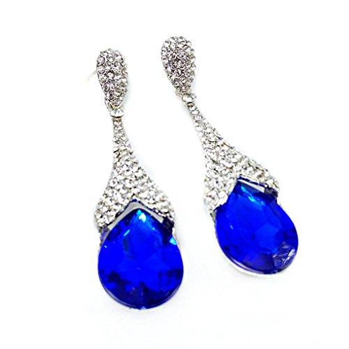 QHGstore Orecchini Matrimonio Donne di cristallo goccia d'attaccatura orecchini pendenti orecchini di goccia Blu