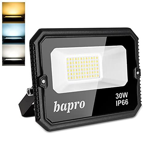 30W Faretto LED da Esterno, Dimmerabile Proiettore Faro LED 3000LM, Fari LED Impermeabile IP66 Lampada Luce di Sicurezza Bianco Freddo, Bianco Caldo, Bianco Normale 3000-6000K per Giardino Corridoio