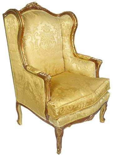 Casa Padrino Barock Ohrensessel Gold 80 x 75 x H. 120 cm - Antik Stil Wohnzimmer Sessel - Barock Möbel