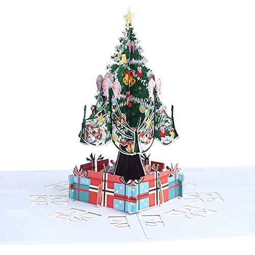 Topdo Tarjeta de Felicitación 3D Papel con Tarjeta de Navidad 3D Pop up con Papel Sobres Bendicion Greeting Cards para Navidad Fiesta Regalo Año 1 Pieza Arbol de Navidad 15 * 15cm