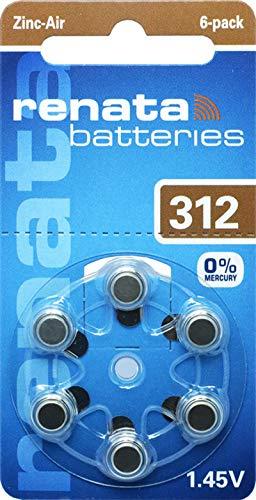 60x Renata Gr. 312 Hörgerätebatterien 10x 6er Blister PR41 Braun