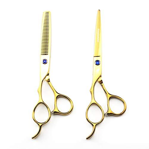 Profesional 6.0 Pulgadas zurda Dorada peluquería Tijeras de barbero Set de peluquería Salón de Adelgazamiento de cizallas exclusivas 440C Acero de Acero Sharp Hairdresser Cortes de Pelo