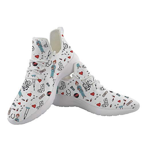 POLERO Nurse Zapatillas De Deporte Enfermera Zapatos Deportivos De Mujer Malla Transpirable Tenis para Correr Gimnasio al Aire Libre Casual Zapatos Planos para Caminar, Blanco, Talla 39