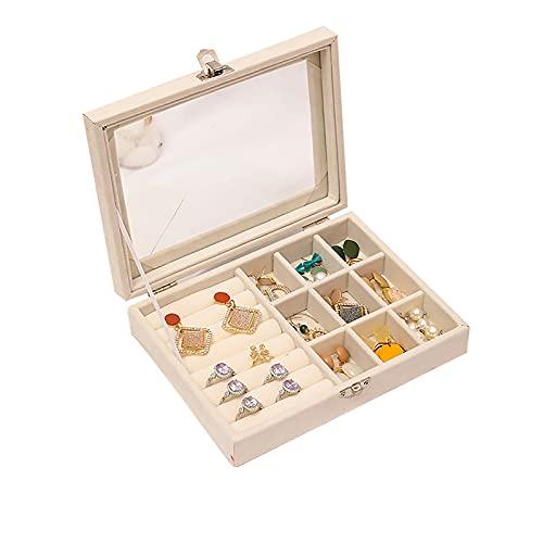 Wilany Joyero de franela multifuncional caja de almacenamiento organizador de exhibición para anillos, pendientes, collar y pulsera