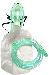 Adult Non-Rebreather Oxygen Mask with 7 Foot Safety Tube & Reservoir Bag - 2 Pack - Size L