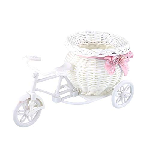 WBFN Bloempotten Bloembakken, Bicycle decoratieve bloemenmand Nieuwste Plastic Wit Driewieler Bike Design Flower mandje Storage Party Decoration Pots (Color : White)