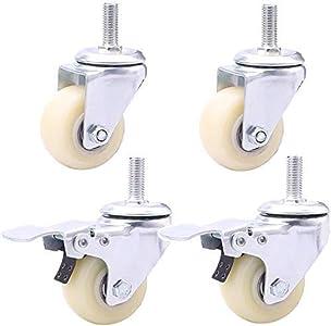 Ruedas 1,5 '' 2 pulgadas Ruedas de nailon M10; Ruedas de tornillo de rosca de 25 mm, ruedas giratorias universales silenciosas, ruedas de repuesto para muebles con freno para baldosas de alfombra de