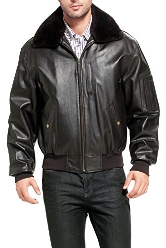 Landing Leathers Men's Air Force B-15 Leather Flight Bomber Jacket Brown X-Large