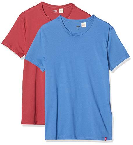 Levi's Crewneck 1 Camiseta, Multicolor (2pk Slim Crew Riverside/Earth Red 0008), Small (Pack de 2) para Hombre