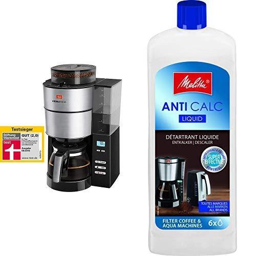 Melitta 1021-01 AromaFresh Filterkaffeemaschine Rostfreier Stahl schwarz & 192618 Flüssigentkalker für Filtermaschinen, 250 ml, Anti Calc