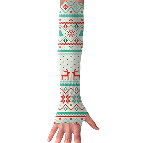 RZM YLY Unisex Nordic Style Christmas Pattern Arm Sleeves UV Sun Protective Slim Tattoo Arm Gloves Long Sleeve Perfect for Football (1 Pair)