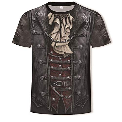 Men 3D Print Short Sleeve Pullover Regular Fit T-Shirt Fake Two Pieces-L Unisex Fashion Tops Shirts Funny Graphics