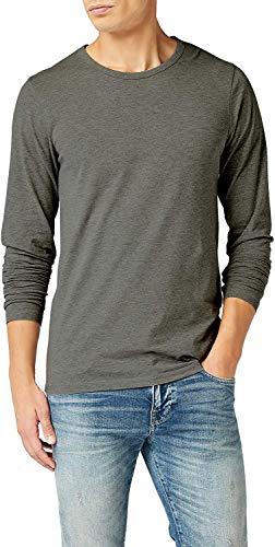 JACK & JONES Herren Basic O-Neck Tee L/S Noos Langarmshirt (Dark Grey Melange, XXL)