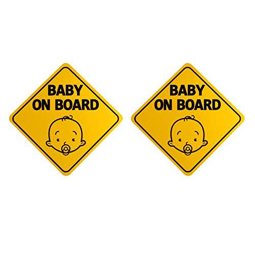 2 Stück Baby On Board Schild für Auto Warnhinweis Sicherheit Reflektierende Folie Gummi Magnet Aufkleber Wasserdicht Pinnwand für Fahrt, abnehmbar